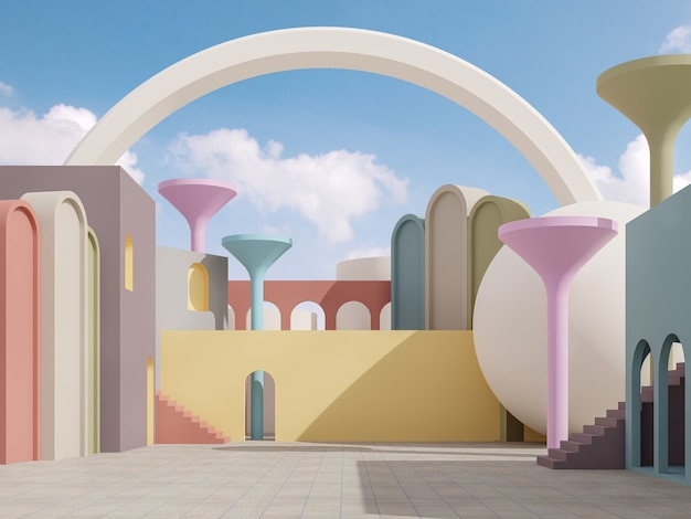 Rendu 3d extérieur fantaisie coloré avec rendu 3d de fond de ciel bleu