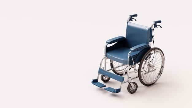 Rendu 3d un fauteuil roulant bleu sur fond de couleur blanche