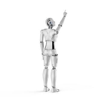 Le rendu 3d femelle cyborg doigt pleine longueur sur fond blanc