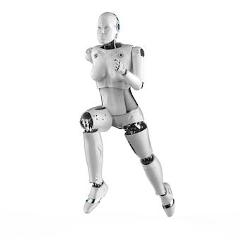 Rendu 3d femelle cyborg ou robot courir ou sauter isolé sur blanc