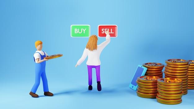 Rendu 3d d'une femme et d'un homme appuyant sur le bouton de vente avec des piles de pièces sur fond bleu