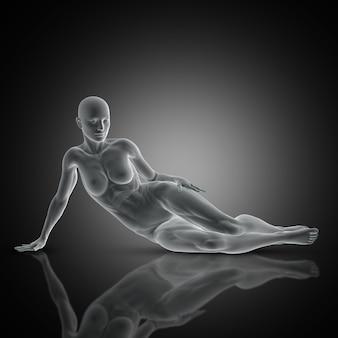 Rendu 3d d'une femme musclée en posant pose