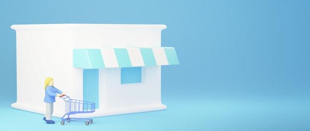 Rendu 3d de femme shopping. achats en ligne et e-commerce sur le concept d'entreprise web. transaction de paiement en ligne sécurisée avec smartphone.