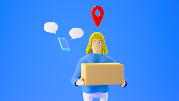 Rendu 3d femme tenant une boîte avec l'icône de localisation et un petit smartphone isolé sur fond bleu