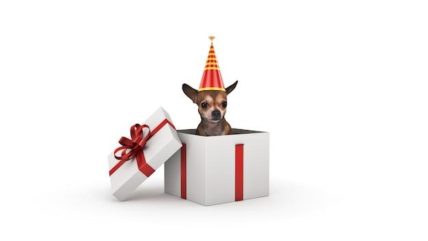 Rendu 3d de fête d'anniversaire de chien