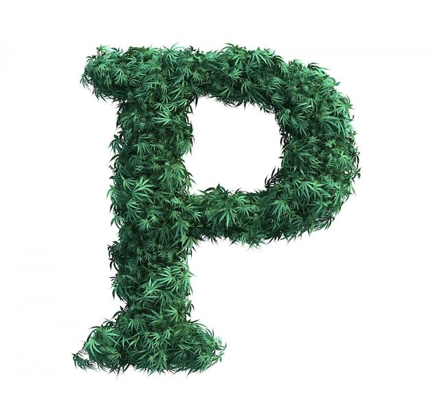 Rendu 3d de feuilles de cannabis formant une lettre p