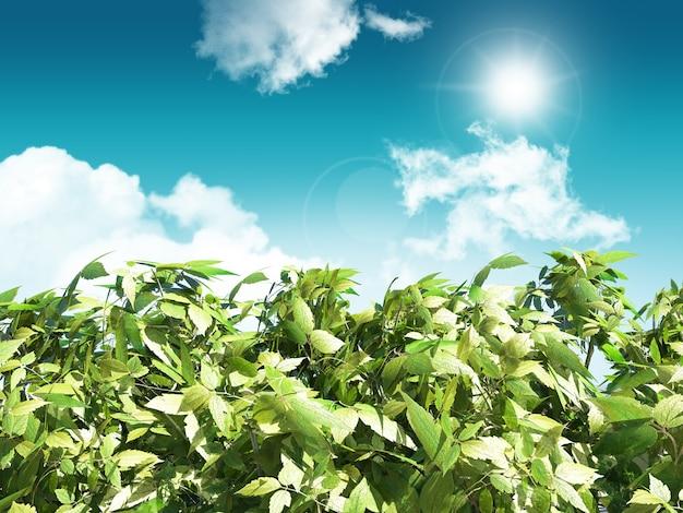 Rendu 3d de feuilles sur un fond de ciel bleu ensoleillé