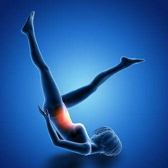 Rendu 3d d'une figure féminine sur le dos faisant des exercices de jambe avec les muscles utilisés mis en évidence