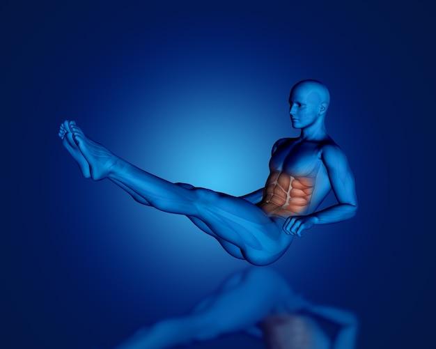Rendu 3d d'une figure médicale bleue en position assise avec carte musculaire partielle
