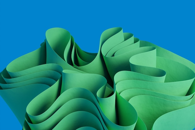 Rendu 3d d'une figure ondulée abstraite verte sur fond bleu fond d'écran avec des objets 3d