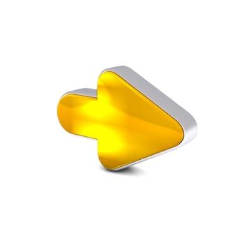 Rendu 3d de la flèche vers l'avant jaune d'or isolé sur fond blanc