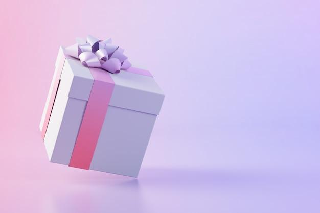 Rendu 3d flottant de boîte cadeau rose