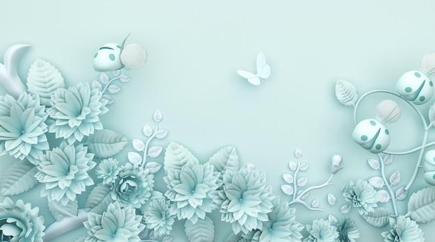 Rendu 3d de fond abstrait bleu avec une décoration florale magnifique