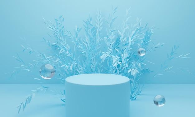 Rendu 3d de fond abstrait bleu avec podium d'affichage et arbre.