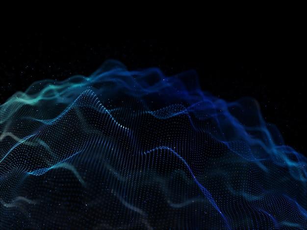 Rendu 3d d'un fond abstrait avec des cyber-particules fluides
