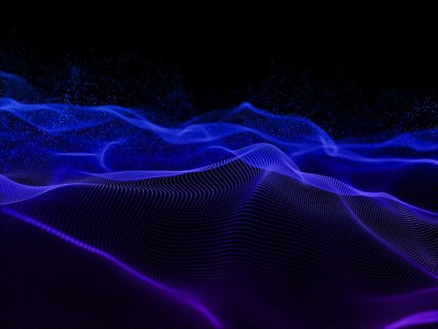 Rendu 3d d'un fond abstrait avec un design de particules fluides