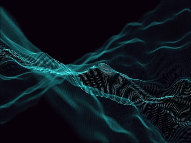 Rendu 3d d'un fond abstrait avec des particules qui coule