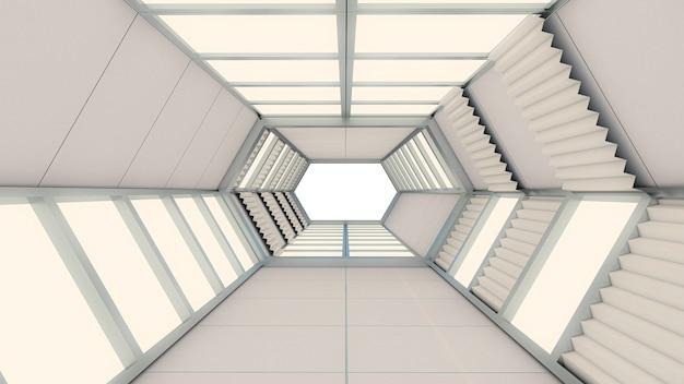 Rendu 3d de fond abstrait, tunnel hexagonal et porte