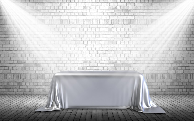Rendu 3d d'un fond d'affichage avec podium sous les projecteurs