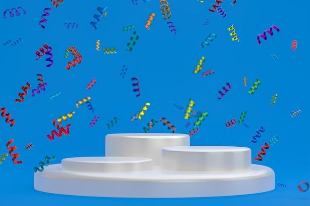 Rendu 3d de fond bleu de scène abstraite avec le podium blanc, les confettis et les rubans multicolores pour le festival
