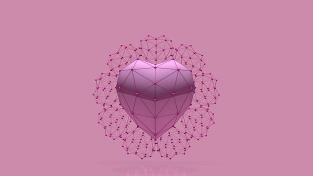 Rendu 3d de fond de coeur rose