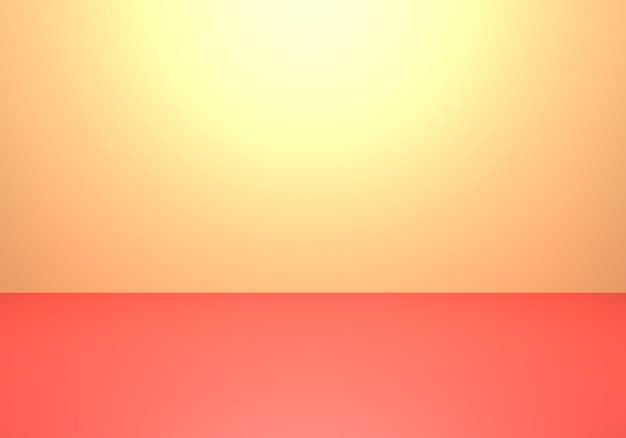 Rendu 3d de fond de concept minimal abstrait jaune et rouge vide