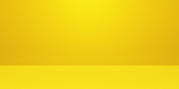 Rendu 3d de fond de concept minimal abstrait or jaune vide. scène pour la publicité