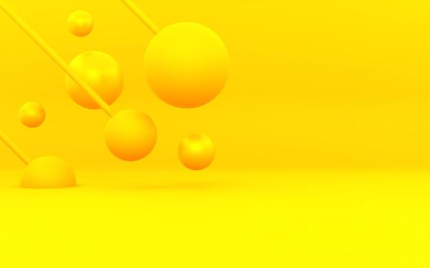 Rendu 3d de fond de concept minimal abstrait orange jaune. scène pour la publicité