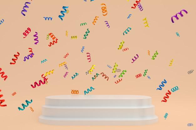Rendu 3d de fond crème de scène abstraite avec podium blanc, confettis et rubans multicolores pour le festival