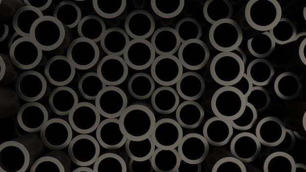 Rendu 3d fond d'écran sombre tuyau modèle noir métal lumière