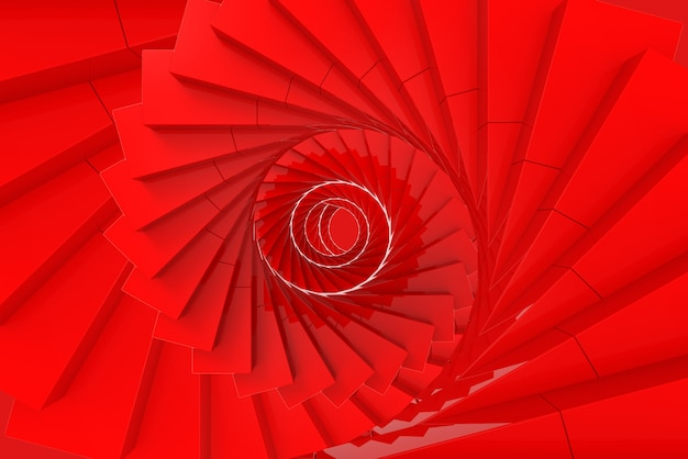 Rendu 3d. fond d'escaliers art tourbillon rouge.
