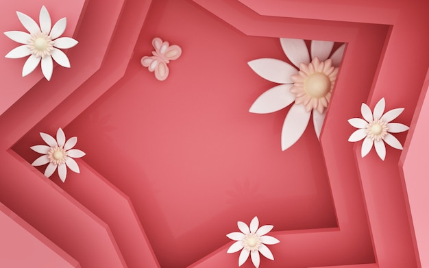 Rendu 3d de fond étoile rouge avec des décorations florales
