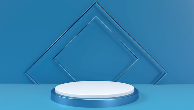 Rendu 3d de fond géométrique abstrait, scène, podium, scène et affichage. couleur bleu et blanc.