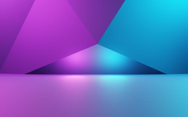 Rendu 3d de fond géométrique abstrait violet et bleu. concept cyberpunk