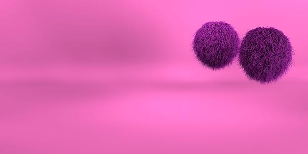 Rendu 3d d'un fond géométrique violet pour la publicité commerciale. boules de fourrure violettes. boule de poils duveteux violet sur fond rose
