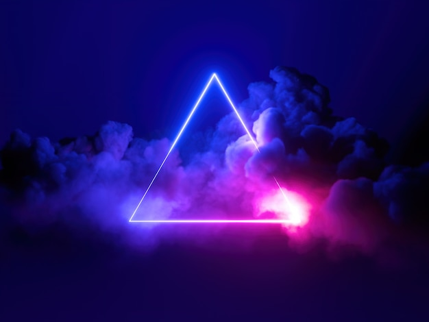 Rendu 3d, fond minimal abstrait, cadre triangulaire néon bleu rose