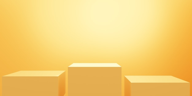 Rendu 3d de fond minimal abstrait or vide avec géométrique. scène pour la publicité