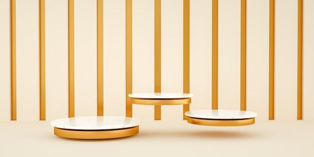 Rendu 3d, fond minimaliste abstrait et moderne avec marbre blanc et or. plateforme vide