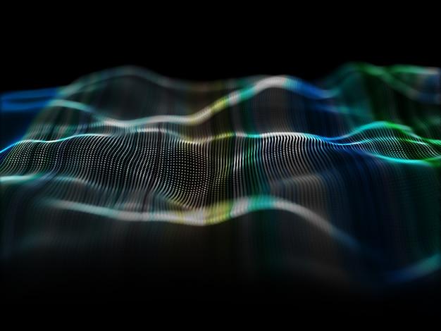 Rendu 3d d'un fond moderne avec une conception de particules qui coule