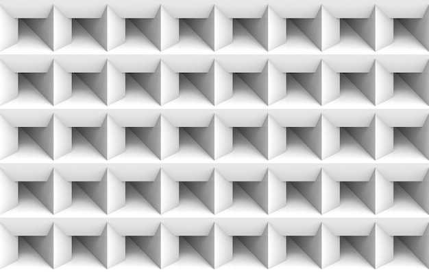 Rendu 3d. fond de mur d'art minimaliste blanc carré blanc grille.