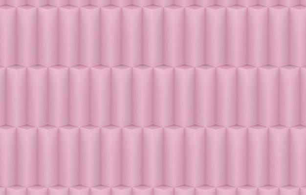 Rendu 3d. fond de mur doux rose géométrique rose doux pile mur.