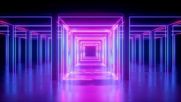 Rendu 3d, fond néon abstrait, lignes brillantes roses, forme carrée, couloir, lumière ultraviolette, espace de réalité virtuelle