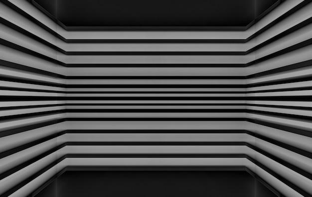 Rendu 3d, fond noir moderne parallèle panneaux sombre modèle conception mur de coin,