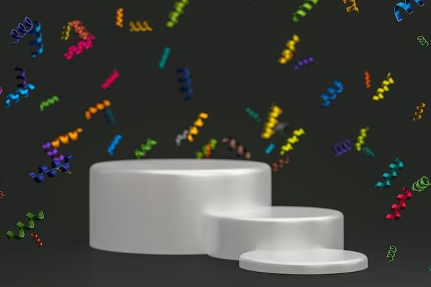 Rendu 3d de fond noir de scène abstraite avec le podium blanc, les confettis et les rubans multicolores pour le festival