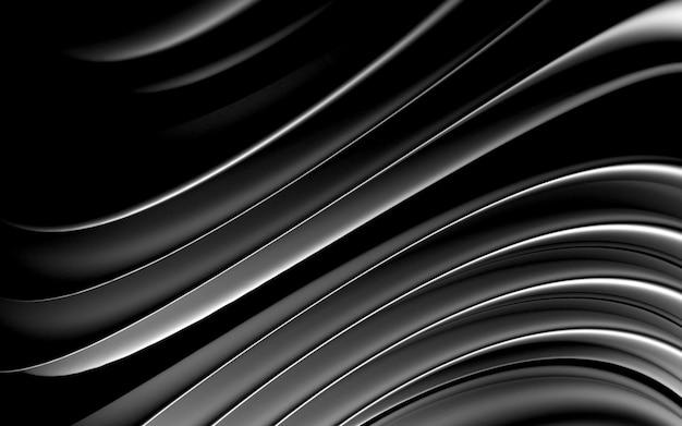 Rendu 3d de fond ondulé métallique abstrait 3s avec des lignes rondes courbes et lisses organiques