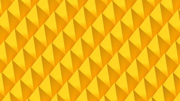 Rendu 3d fond papier peint motif répétant jaune pyramides éclairage lumière géométrique
