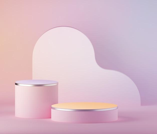 Rendu 3d fond de pâques rose violet pastel abstrait, podium de cylindre blanc.