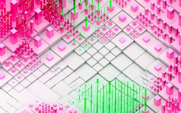 Rendu 3d de fond de paysage 3d topographique art abstrait avec des collines surréalistes ou des montagnes basées sur des boîtes de cubes