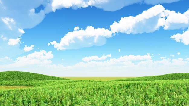 Rendu 3d d'un fond de paysage avec des collines herbeuses