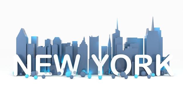 Rendu 3d de fond de paysage urbain de new york